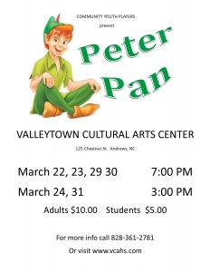 Peter Pan, the play @ Valleytown Cultural Arts Center