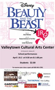 Beauty and the Beast, Jr., @Valleytown Cultural Arts @ Valleytown Cultural Arts Center