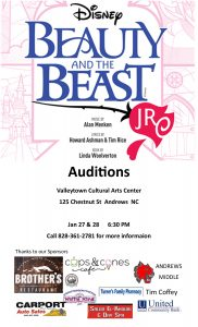 AUDITIONS FOR Beauty and the Beast Jr. @ Valleytown Cultural Arts Center @ Valleytown Cultural Arts Center | Andrews | North Carolina | United States