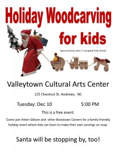 Holiday Woodcarving for Kids @Valleytown Cultural Arts Center @ Valleytown Cultural Arts Center | Andrews | North Carolina | United States